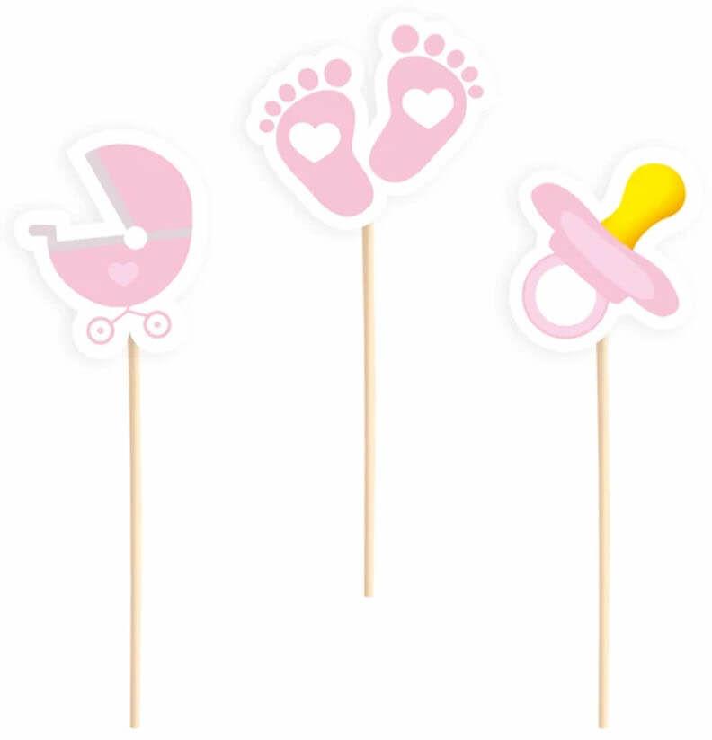 Pikery na Baby Shower różowe - 6 szt.