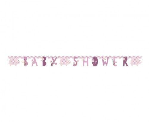Girlanda na Baby Shower Słonik, różowa