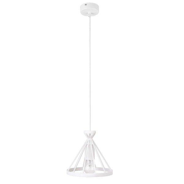 Lampa wisząca NOWUM biała druciany stożek 20cm