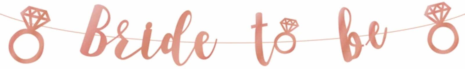 Baner z napisem Bride to be różowe złoto - 150 cm - 1 szt.