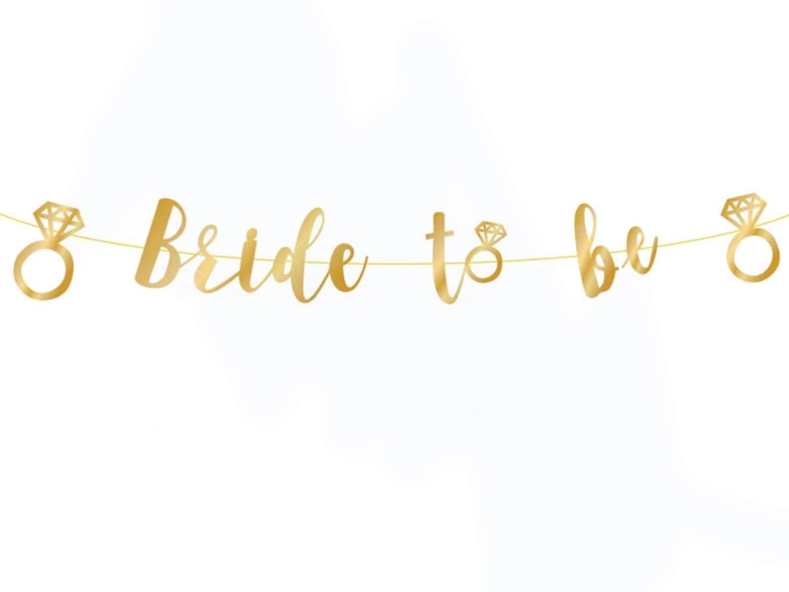 Baner z napisem Bride to be złoty - 150 cm - 1 szt.