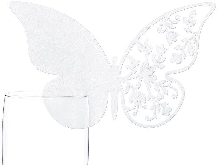 Winietki na kieliszki Motylki 10 sztuk WSZ6
