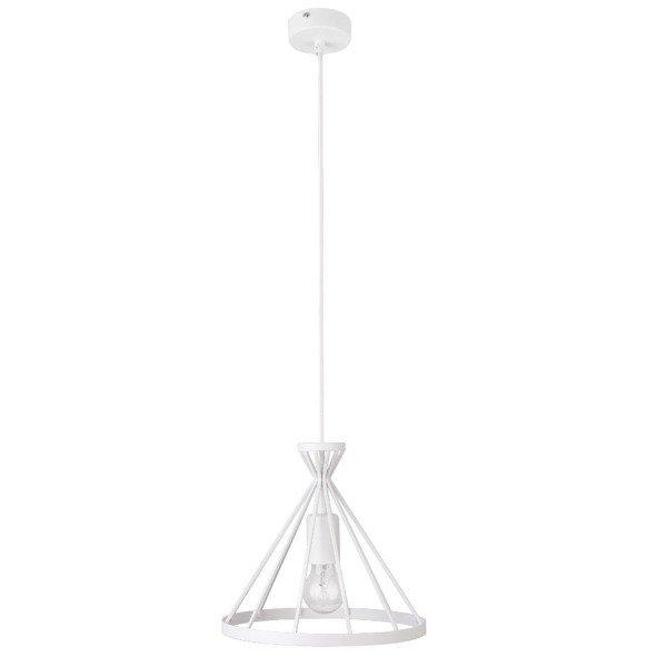 Lampa wisząca NOWUM biała druciany stożek 26cm