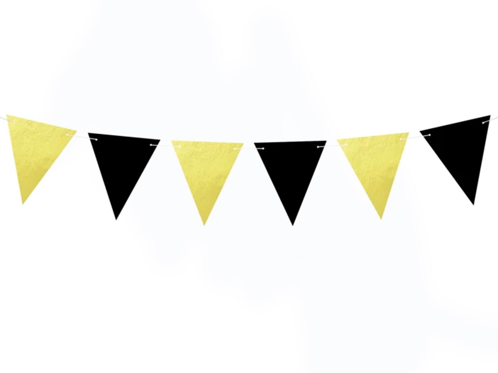 Baner flagi złoto-czarny - 180 cm - 1 szt.