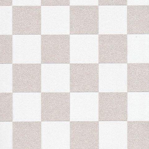 Tapeta szachownica beżowo biała kratka