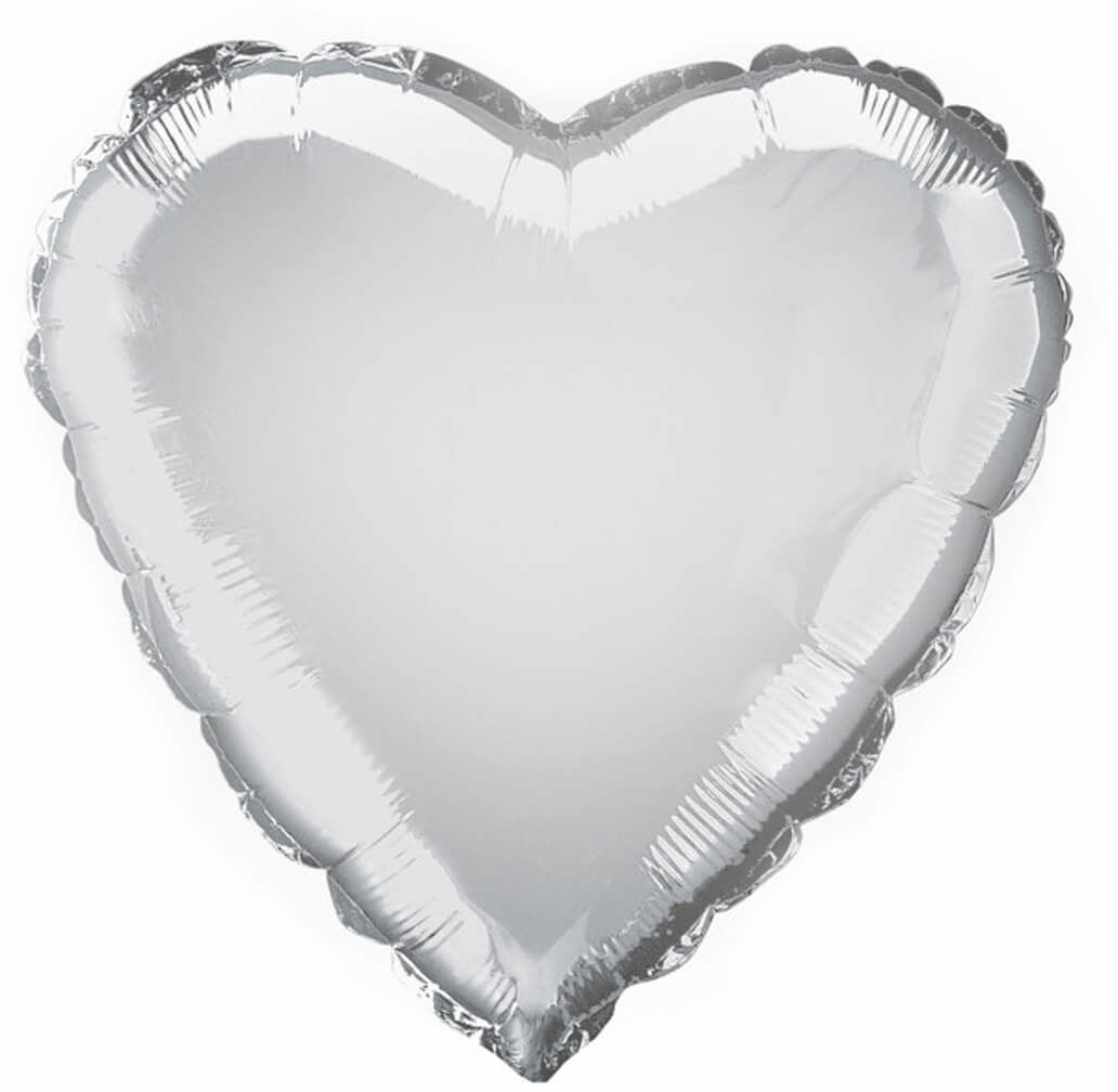 Balon foliowy Serce srebrne - 47 cm - 1 szt.