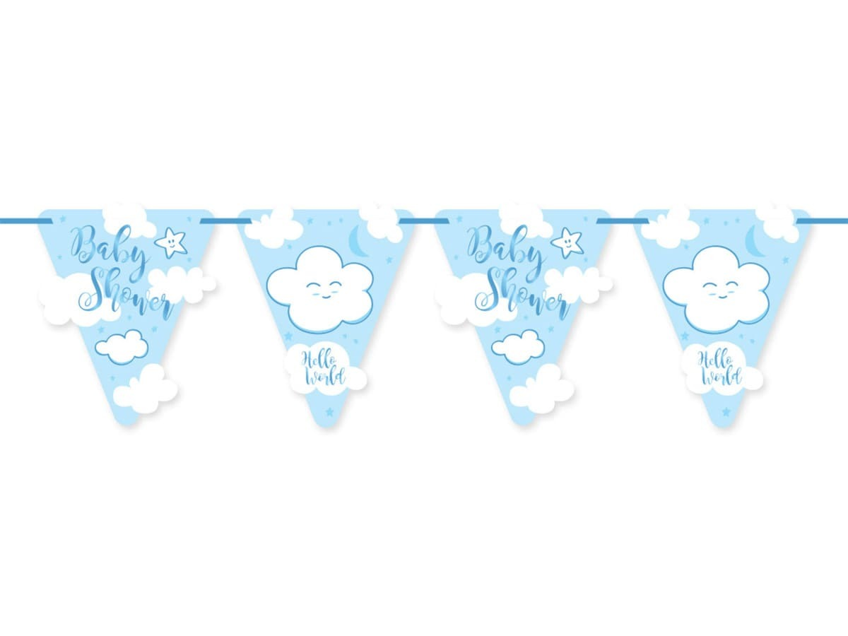 Baner na Baby Shower niebieski - 600 cm - 1 szt.