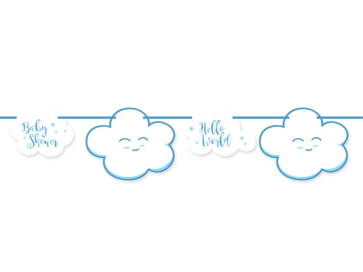 Baner na Baby Shower niebieski - 400 cm - 1 szt.