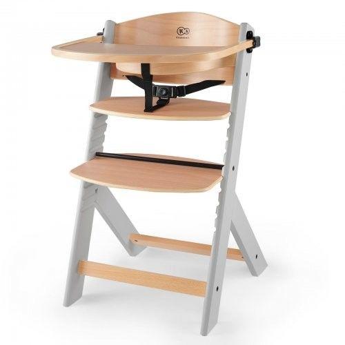 Kinderkraft Enock Krzesełko do karmienia drewniane szare nogi
