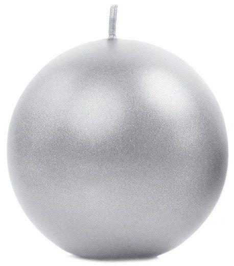 Świeca kula srebrna 8cm metaliczna 1 sztuka SKUMET80-018-1x