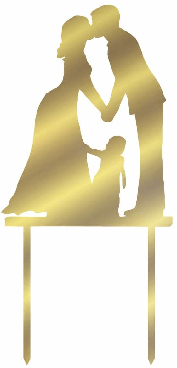 Topper z lustrzanej pleksi złoty na tort Młoda Para - 13 cm