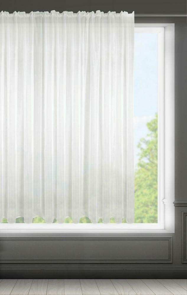 Firana 300x160 Lucy kremowa gotowa na taśmie z lekkiej przewiewnej tkaniny Eurofirany