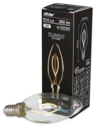 Żarówka LED line FILAMENT E14 C35 180-265V 2W 260lm 4000K biała dzienna