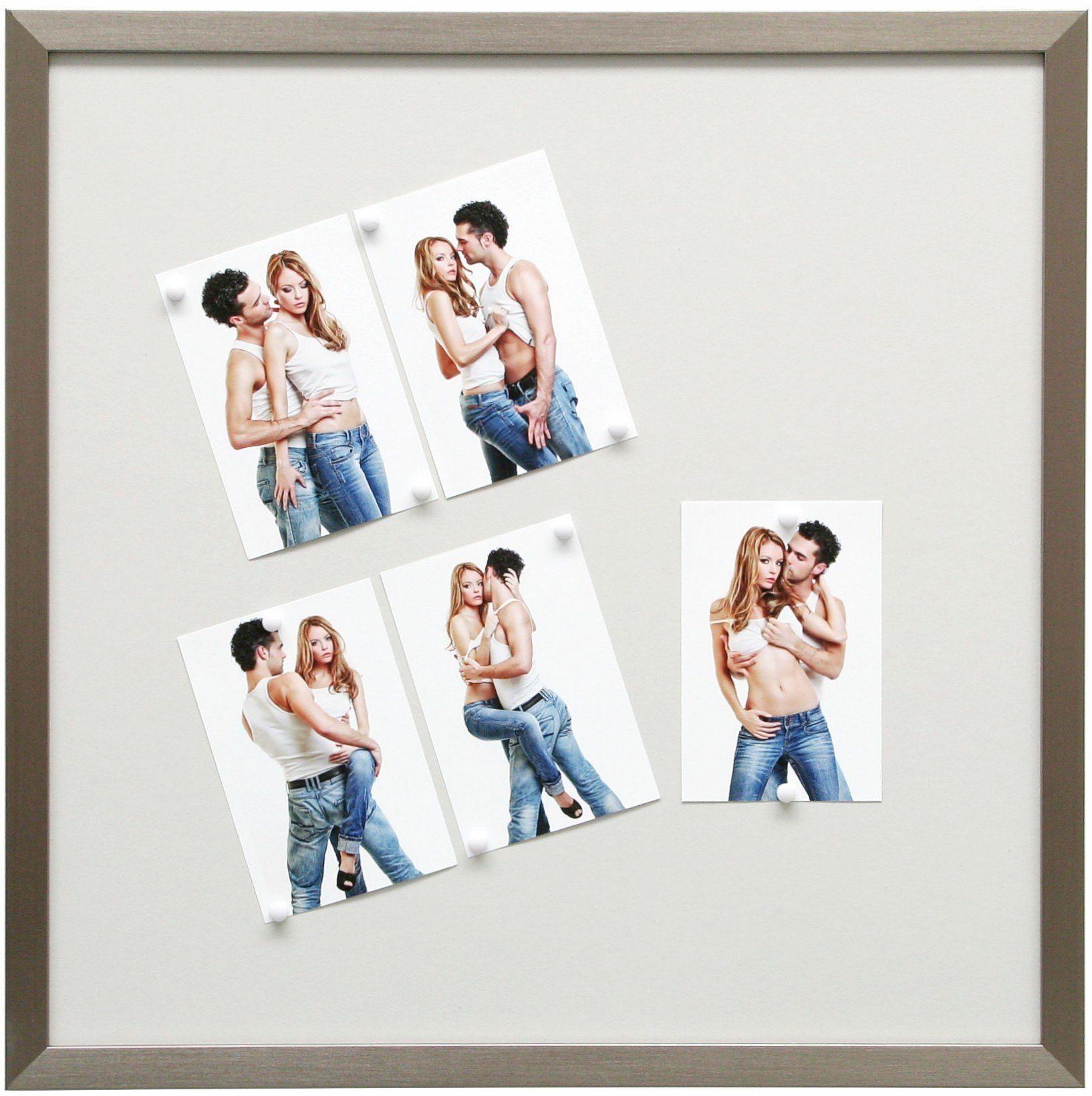 Deknudt Frames S41VD1-M-50.0x50.0 tablica magnetyczna srebrna żywica z 10 magnesami biała 54,6 x 54,6 x 1,6 cm