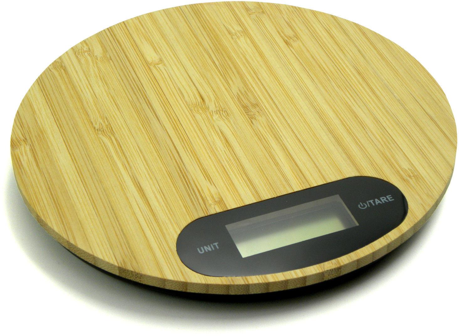 Waga kuchenna bambusowa okrągła 5kg LCD 18.5x18.5cm (GH03003)
