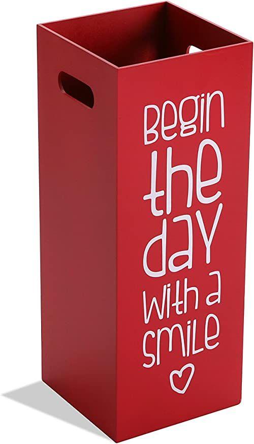 Versa Fluor stojak na parasole do wejścia, pomieszczenia lub hali, nowoczesny uchwyt na parasole, wymiary (wys. x dł. x szer.) 21 x 21 x 1,8333 cm, płyta MDF, kolor: czerwony