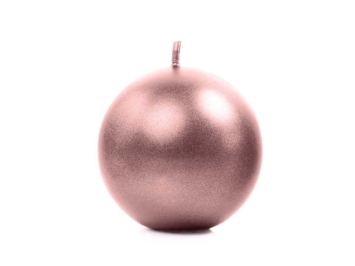 Świeca Kula metaliczna, złoty róż - 6 cm - 1 szt.