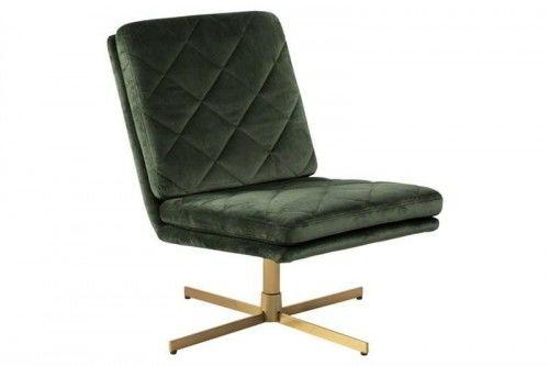 Fotel obrotowy CARRERA ciemny zielony - welur, złota podstawa ACTONA