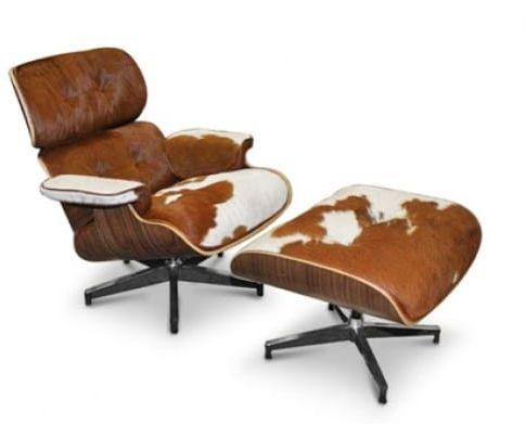 Brązowo biały Fotel Skóra Naturalna Z Włosiem Pony Inspirowany Projektem Lounge Chair