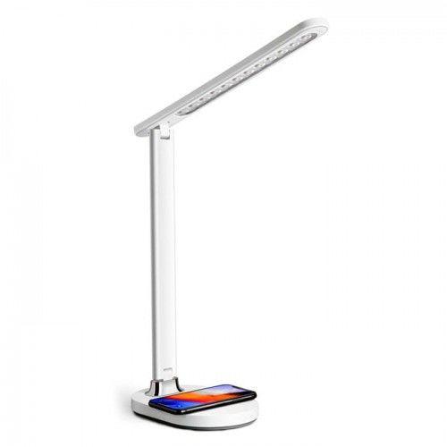 Lampka biurkowa LED 18W z regulacją jasności i wbudowaną ładowarką bezprzewodową QI