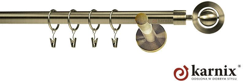 Karnisz nowoczesny NEO pojedynczy 16mm Alpi antyk mosiądz