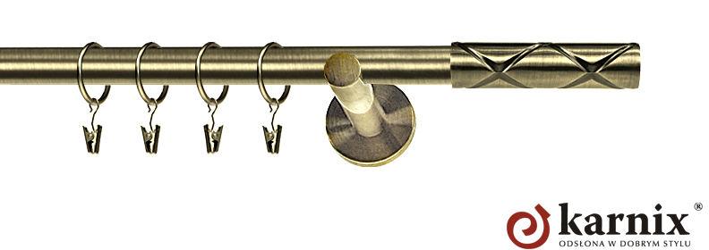 Karnisz nowoczesny NEO pojedynczy 16mm Casino antyk mosiądz