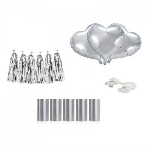 Zestaw do dekoracji samochodu weselnego - Serca, srebrne