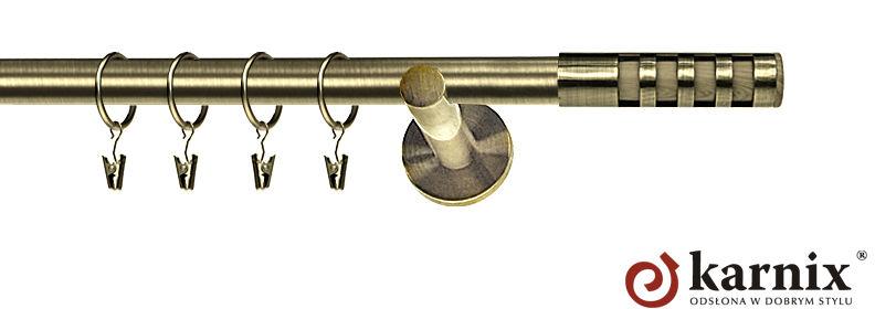 Karnisz nowoczesny NEO pojedynczy 16mm Dakota antyk mosiądz