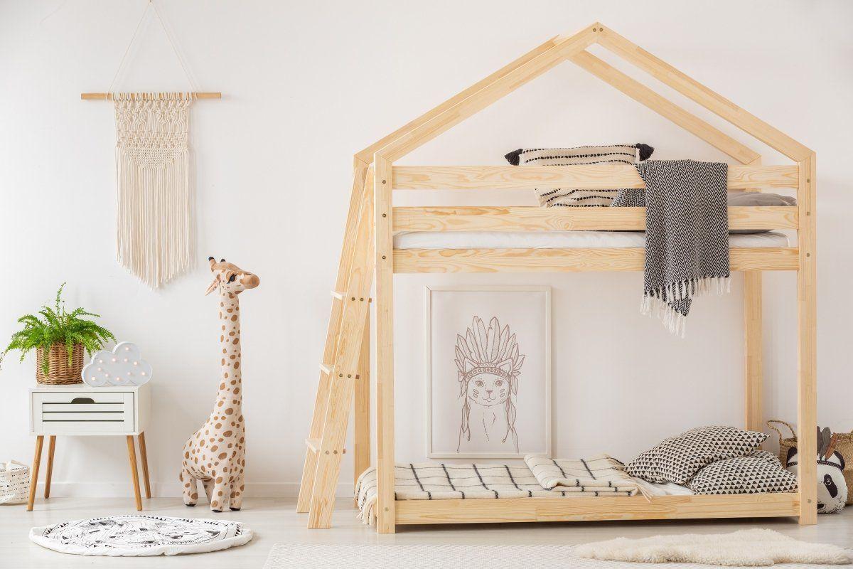Łóżko MILA DMPB 80x160 sosna piętrowe w kształcie domku  KUP TERAZ - OTRZYMAJ RABAT