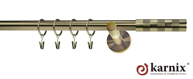 Karnisz nowoczesny NEO pojedynczy 16mm Etiuda antyk mosiądz