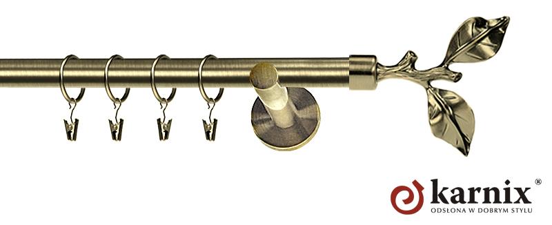 Karnisz nowoczesny NEO pojedynczy 16mm Gałązka antyk mosiądz
