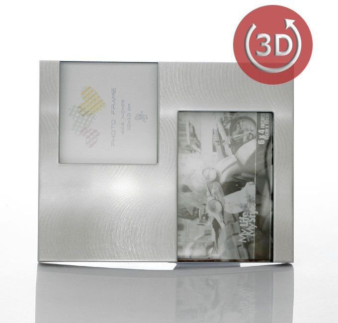 Srebrna Ramka na 2 zdjęcia (10x15 i 10x10)
