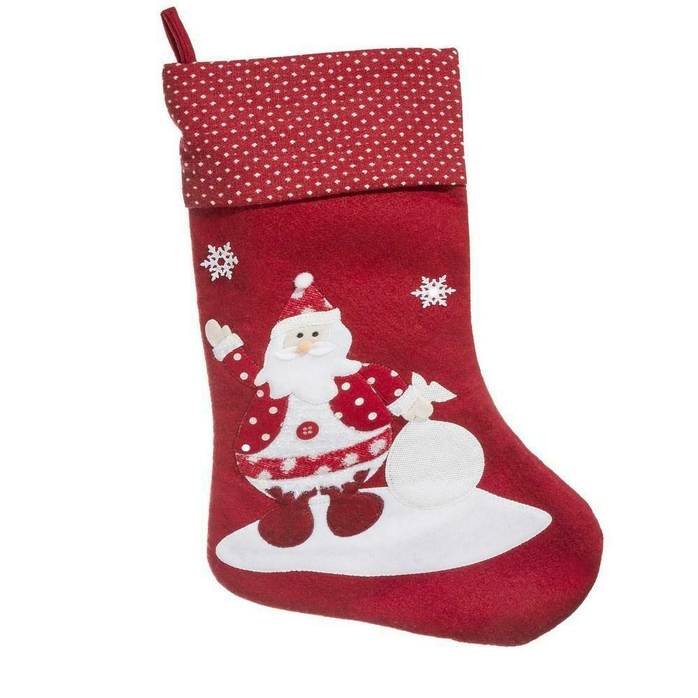 Ozdoba świąteczna Elfi skarpeta but biała czerwona mikołaj Eurofirany