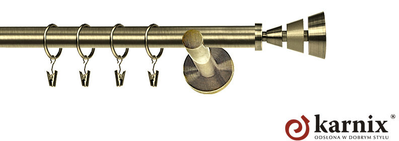 Karnisz nowoczesny NEO pojedynczy 16mm Imperia antyk mosiądz