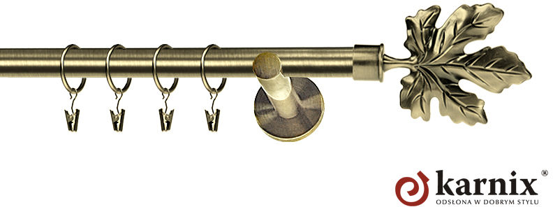 Karnisz nowoczesny NEO pojedynczy 16mm Klon antyk mosiądz