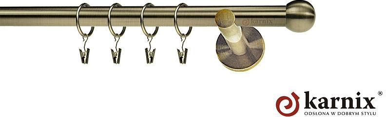 Karnisz nowoczesny NEO pojedynczy 16mm Kula antyk mosiądz