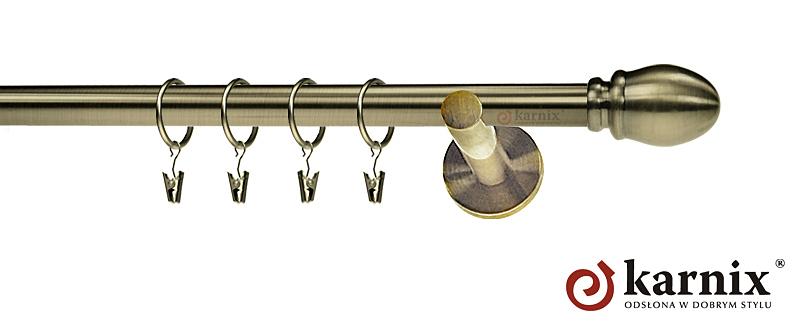 Karnisz nowoczesny NEO pojedynczy 16mm Owal antyk mosiądz