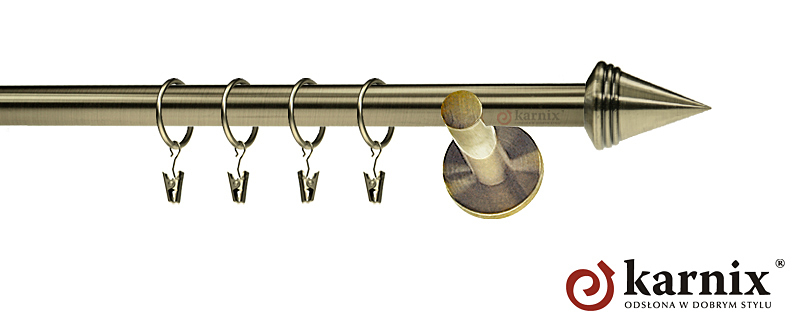 Karnisz nowoczesny NEO pojedynczy 16mm Stożek antyk mosiądz