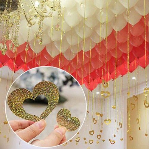 Zawieszki, dekoracje do balonu Serca złote, 2 szt.
