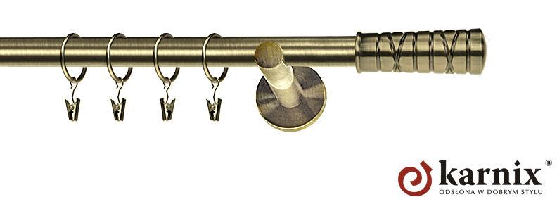 Karnisz nowoczesny NEO pojedynczy 16mm Torino antyk mosiądz