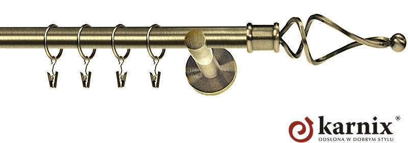 Karnisz nowoczesny NEO pojedynczy 16mm Twist antyk mosiądz