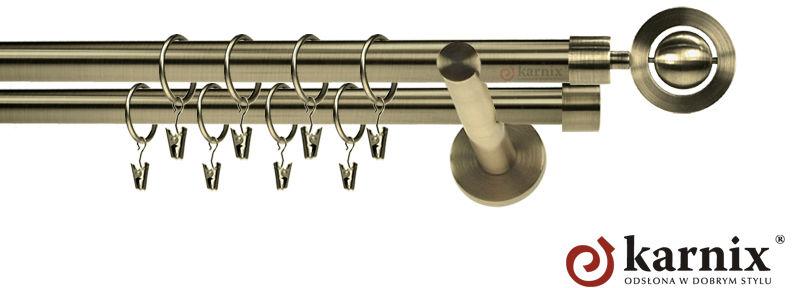 Karnisz nowoczesny NEO podwójny 16/16mm Alpi antyk mosiądz