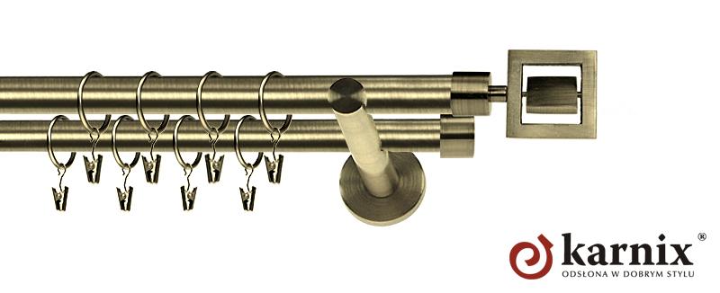 Karnisz nowoczesny NEO podwójny 16/16mm Apollo antyk mosiądz