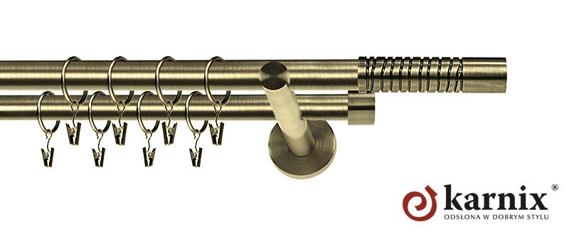 Karnisz nowoczesny NEO podwójny 16/16mm Calabria antyk mosiądz