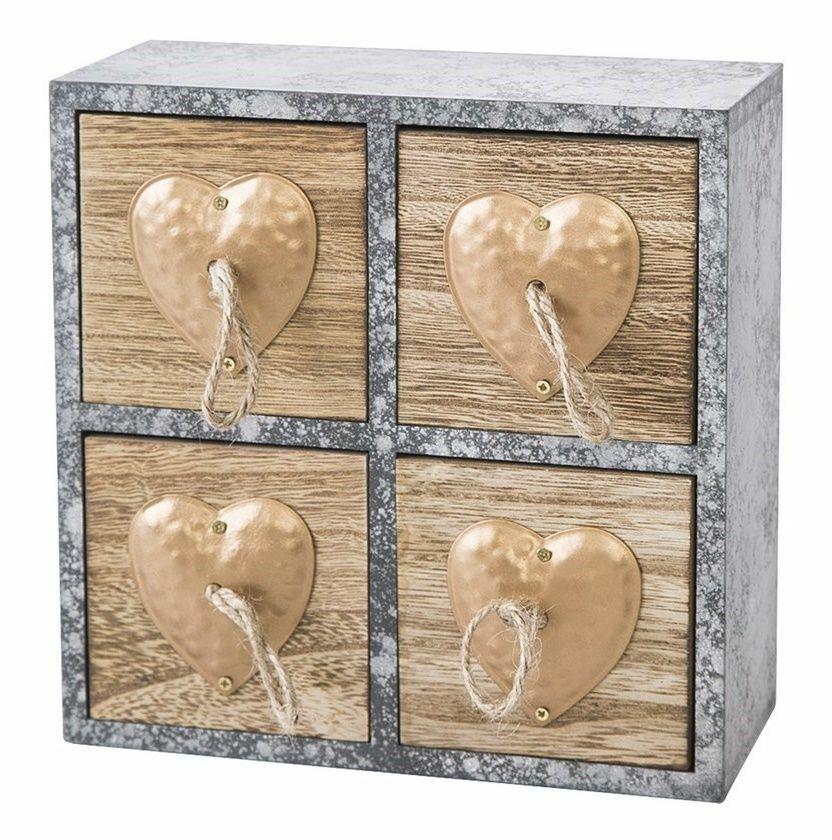 Pudełko dekoracyjne 20x8x20 Heart 2 drewniane szare z szufladkami serca