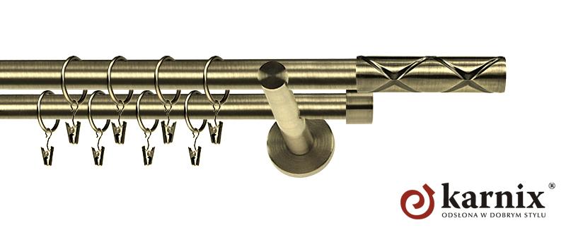 Karnisz nowoczesny NEO podwójny 16/16mm Casino antyk mosiądz