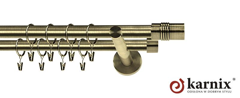 Karnisz nowoczesny NEO podwójny 16/16mm Cylinder antyk mosiądz