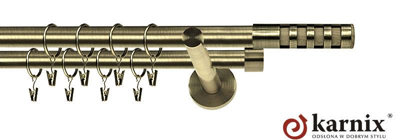 Karnisz nowoczesny NEO podwójny 16/16mm Dakota antyk mosiądz