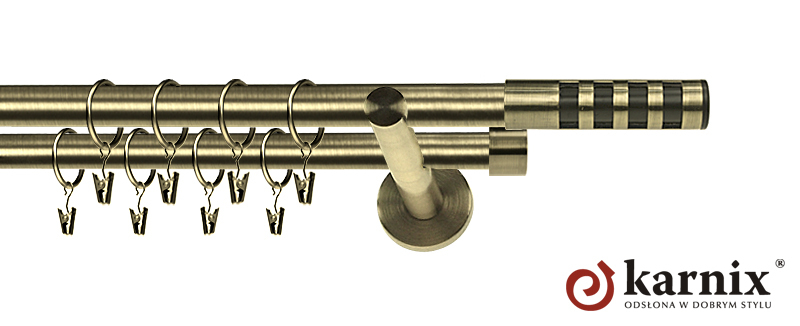 Karnisz nowoczesny NEO podwójny 16/16mm Dakota Premium antyk mosiądz