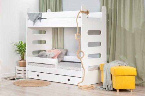Łóżko 180x80cm High Crane piętrowe z szufladą serduszka kolor biały